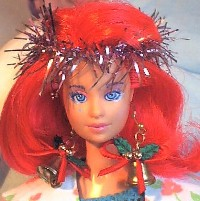 "Kimber, aka ""Kimmie"" in festive garb. This is the very doll - my first ever Jem doll :)"